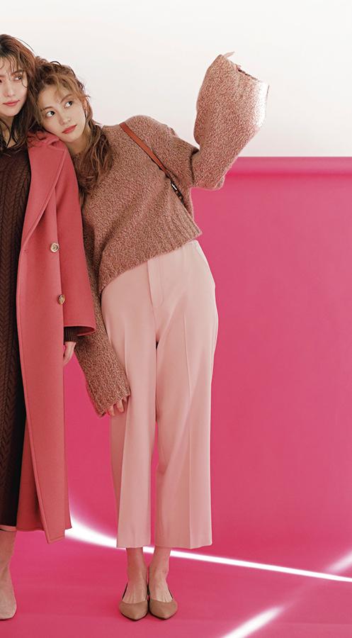 程よく甘い、今どきガーリー ストロベリーチョコ配色『「ピンクは大好きだけど、子供っぽくなりたくない」ならこの配色!ブラウンと合わせて甘さを抑えれば、女のコらしいかわいさはそのまま、今どきのこなれ感もGETできちゃう♡』