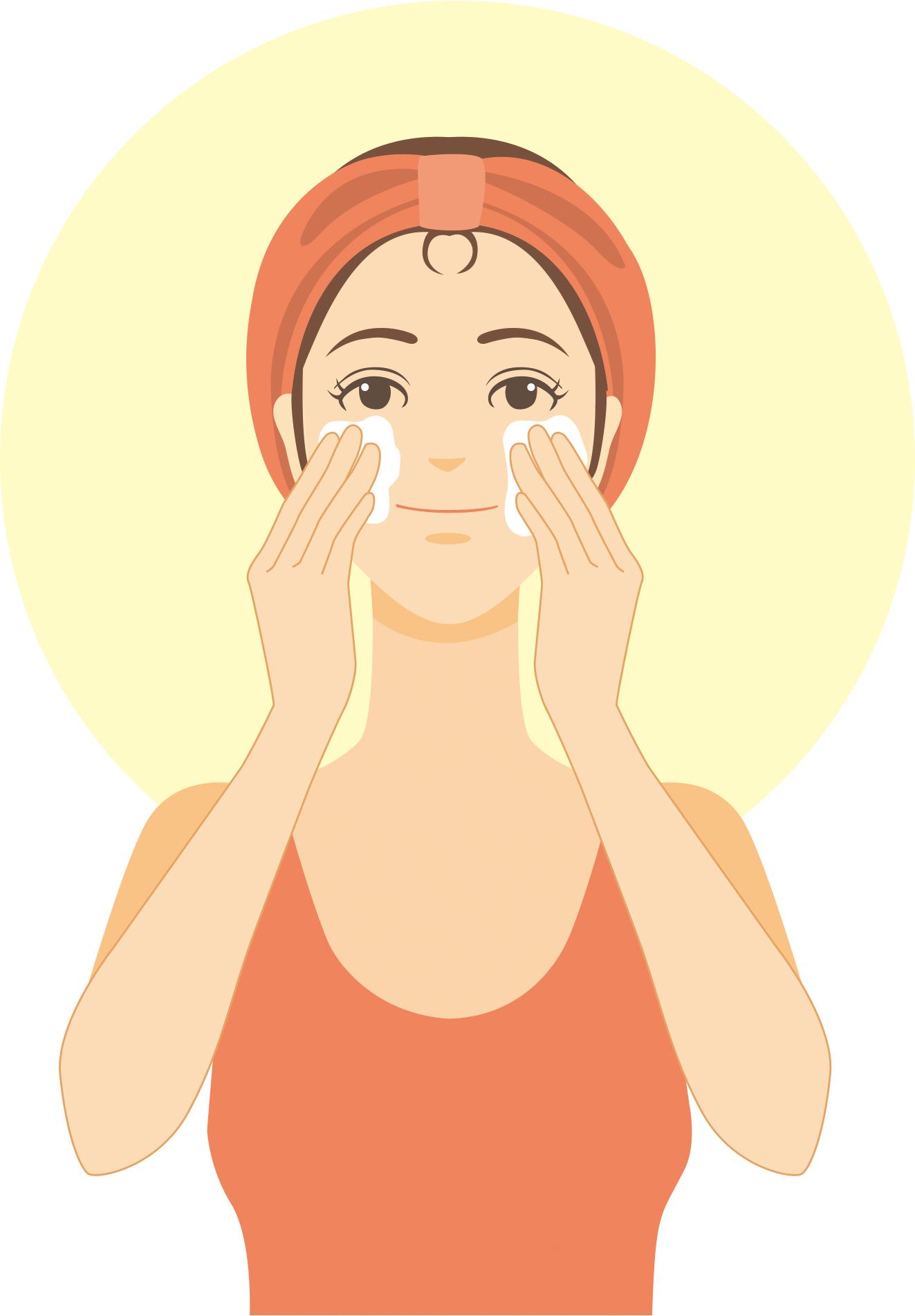 洗顔している画像