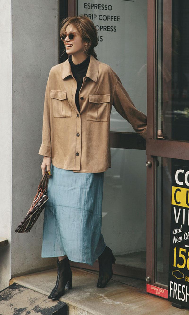 CPOジャケット×くしゅスカートでトレンド感たっぷりに