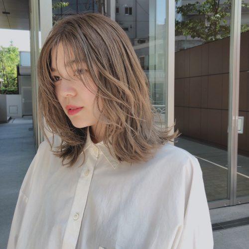 ■長め前髪のパーマ風こなれウェーブ