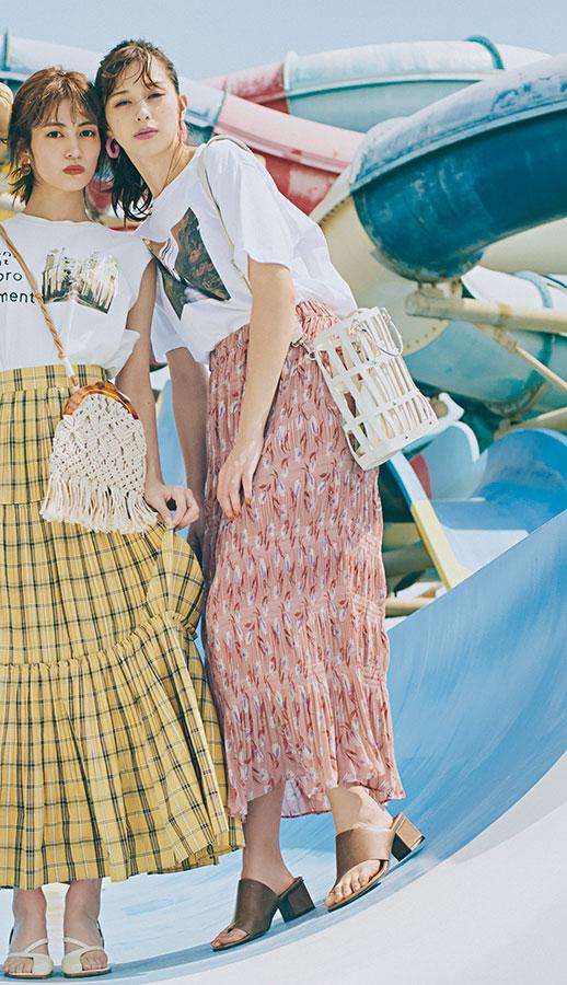 夏だからこそ楽しめる古着チックな派手めの組み合わせが楽しい♡フォトT×派手柄スカート『暑い日に使えるシンプルなTシャツの相棒は、映える派手柄スカートで決まり! 古着屋さんで見つけたような個性的な色や柄を選んで、自分だけのおしゃれを楽しむべし☆』