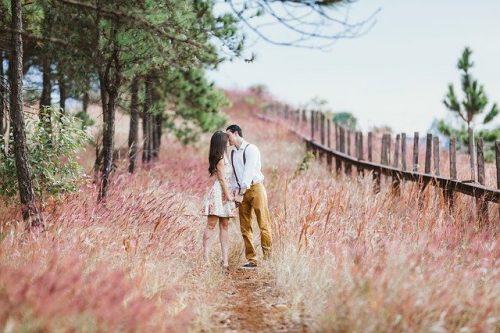 自然の中でキスする男女