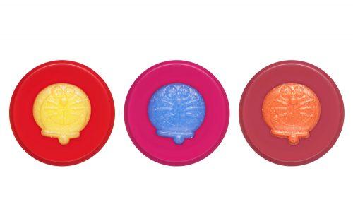 (左から)004 シャイニーイエロー×ビビッドレッド、005 グリッターブルー×ロマンティックピンク、006 トゥインクルオレンジ×ピンクベージュ