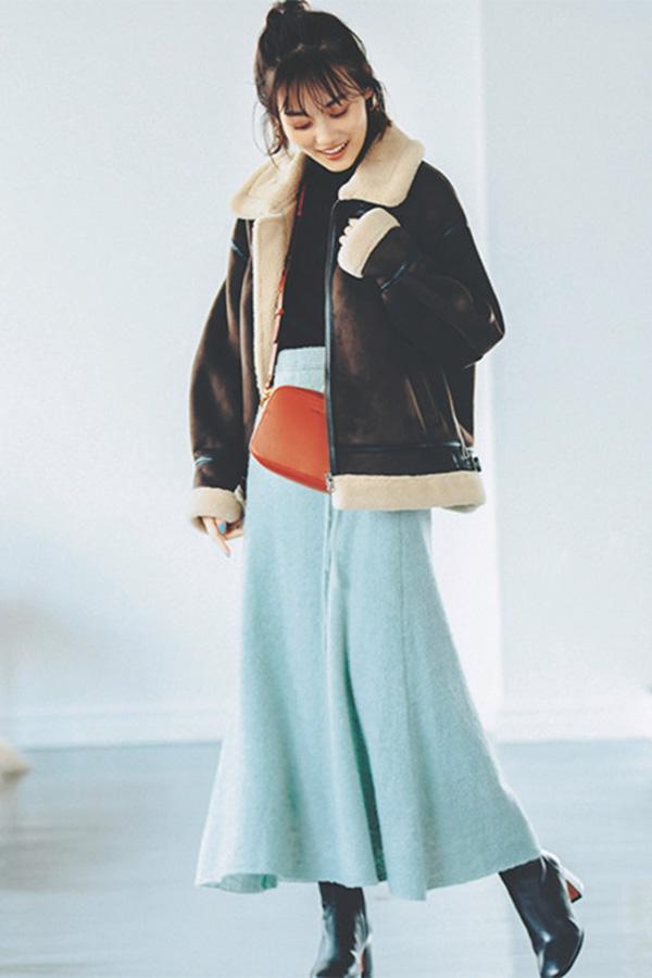ミントグリーンスカート