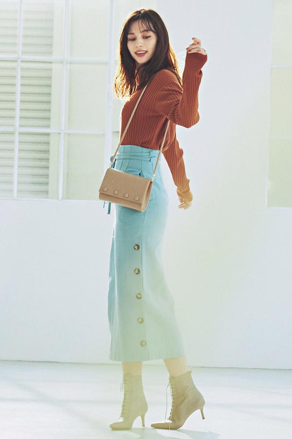 Iラインでスタイルアップ!ほっそりボックススカート『Marine Blue』
