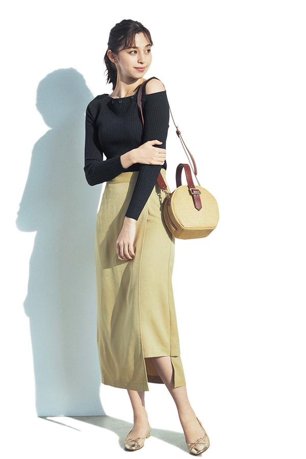 Iラインでスタイルアップ!ほっそりボックススカート『Banana Milk』