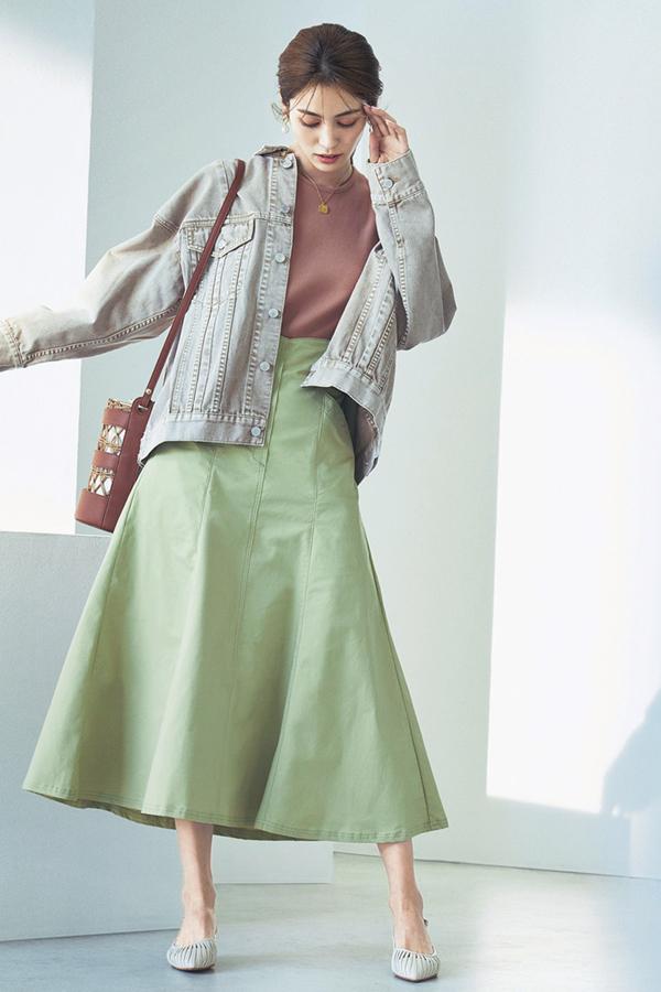 甘くないフレアが断然新しい♥ハリ感フレアスカート『Lime Green』
